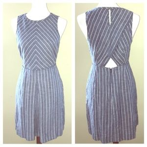 🌿J. Crew Blue Striped Pocket Dress EUC